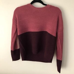 Sweaters - Pink and burgundy colorblock sweater